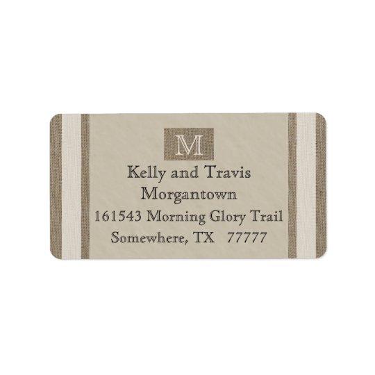 Monogram Return Address Label - Burlap Parchment