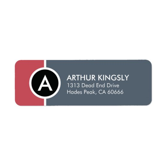 Monogram Return Address Label - Red n' Blue