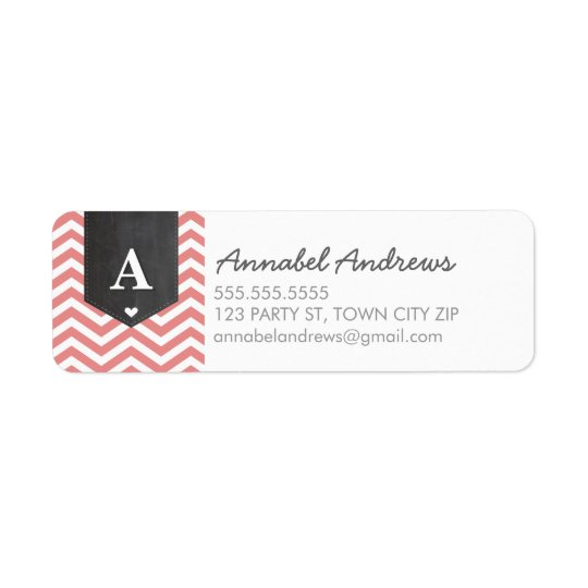 MONOGRAM RETURN ADDRESS modern chevron coral pink