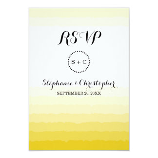 Monogram Ripple Yellow Gold Color Ombre RSVP Cards 9 Cm X 13 Cm Invitation Card