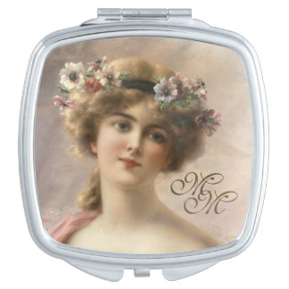 Monogram Romantic Vintage Beautiful Woman Mirror For Makeup