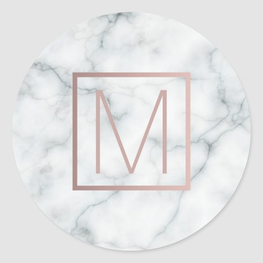 monogram rose gold and white marble classic round
