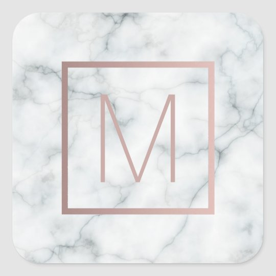 monogram rose gold and white on marble square