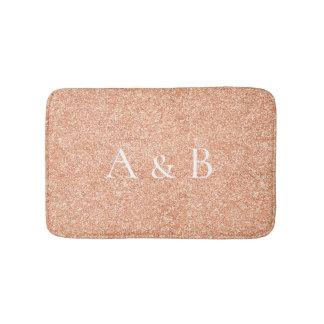 Monogram Rose Gold Coral Peach Copper Lux Glitter Bath Mat