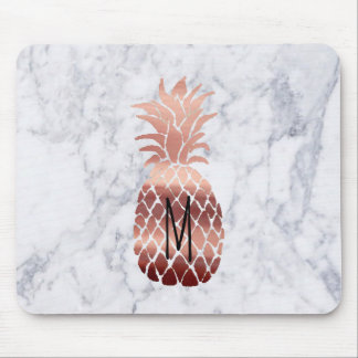 monogram rose gold pineapple on marble mouse mat