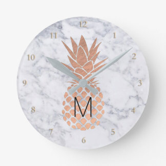 monogram rose gold pineapple on marble round clock