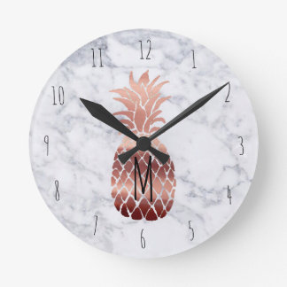 monogram rose gold pineapple round clock