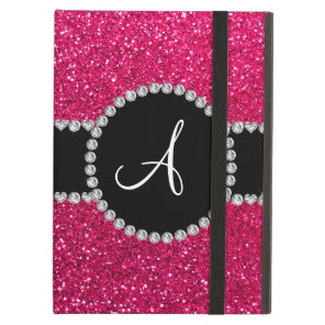 Monogram rose pink glitter diamond circle iPad air case