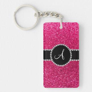 Monogram rose pink glitter diamond circle acrylic key chain