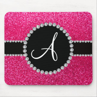 Monogram rose pink glitter diamond circle mouse mat