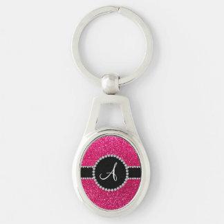 Monogram rose pink glitter diamond circle key chain