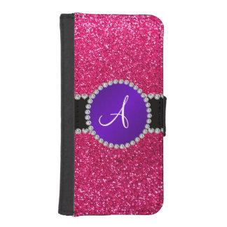 Monogram rose pink glitter purple diamond circle