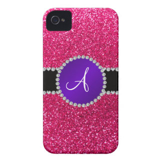 Monogram rose pink glitter purple diamond circle iPhone 4 covers