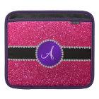 Monogram rose pink glitter purple diamond circle iPad sleeve