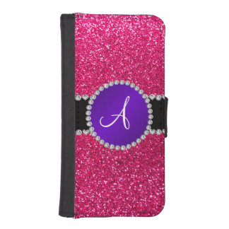 Monogram rose pink glitter purple diamond circle iPhone SE/5/5s wallet case