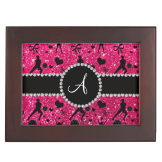 Monogram rose pink glitter volleyball players keepsake boxes