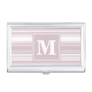 Monogram rose quartz stripes business card case