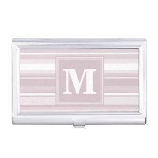 Monogram rose quartz stripes business card holder