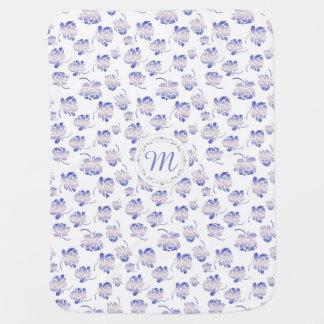 Monogram. Roses retro pattern. Baby Blanket