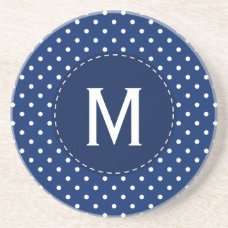 Monogram Royal Blue and White Polka Dot Pattern Sandstone Coaster