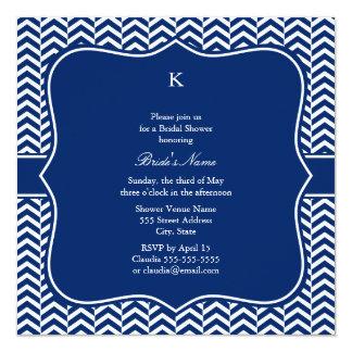 Monogram Royal Blue Chevron Pattern Bridal 13 Cm X 13 Cm Square Invitation Card
