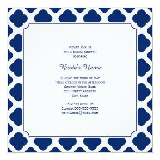 Monogram Royal Blue Quatrefoil Bridal Shower 13 Cm X 13 Cm Square Invitation Card
