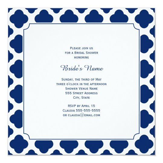Monogram Royal Blue Quatrefoil Bridal Shower Card