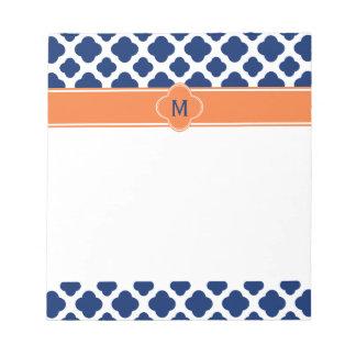 Monogram Royal Blue Quatrefoil Pattern with Orange Notepad