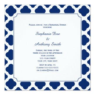 Monogram Royal Blue Quatrefoil Rehearsal Dinner 13 Cm X 13 Cm Square Invitation Card