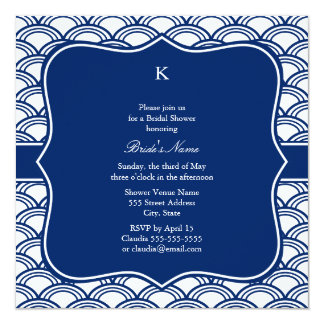 Monogram Royal Blue Seigaiha Pattern Rehearsal 13 Cm X 13 Cm Square Invitation Card