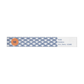 Monogram Royal Blue Seigaiha Pattern with Orange Wraparound Address Label
