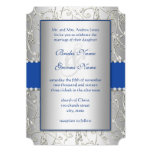 Monogram Royal Blue Silver Swirl Wedding 13 Cm X 18 Cm Invitation Card