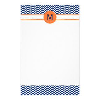 Monogram Royal Blue with Orange Chevron Pattern Stationery
