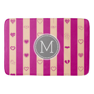 Monogram Royal Fuchsia Stripe Modern Heart Pattern Bath Mat