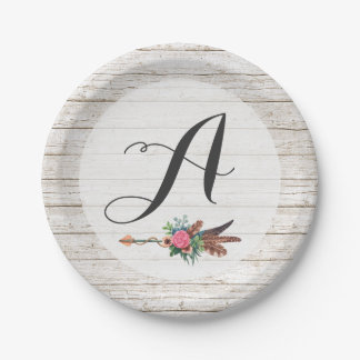 Monogram Rustic Bohemian Feathers Arrow Wedding Paper Plate