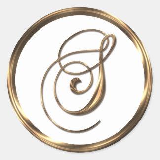 Monogram S Faux Bronze Round Sticker