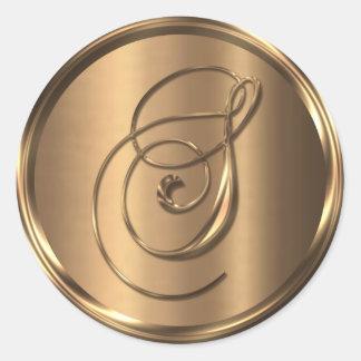 Monogram S NONMETALLIC Bronze Envelope Seal Round Sticker