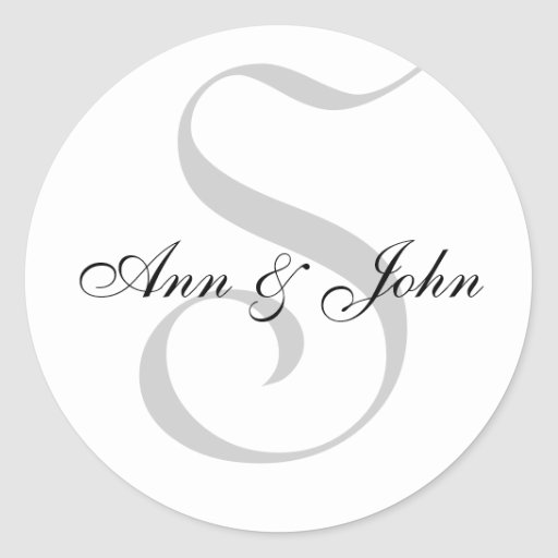 Monogram S  plus First Names Stickers for Weddings