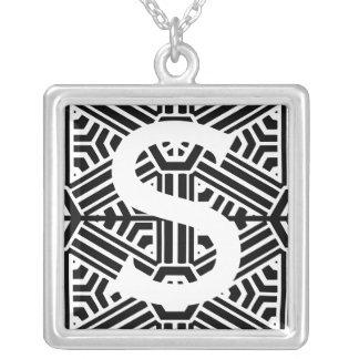 Monogram S Square Pendant Necklace
