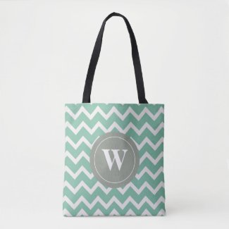 Monogram sage green chevron motif