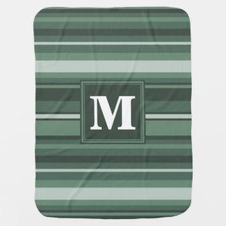 Monogram sage green stripes baby blanket
