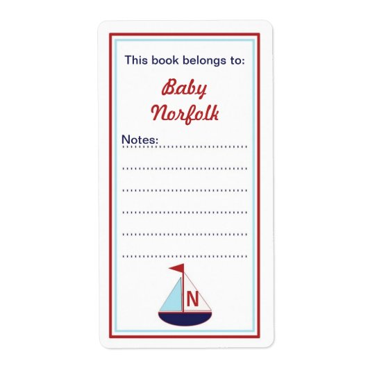 Monogram Sail boat Bookplates red blue navy Shipping Label