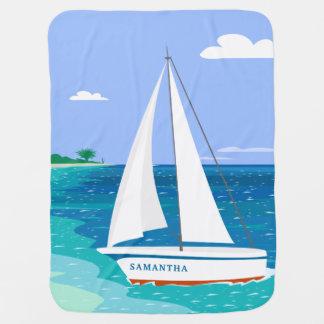Monogram Sailboat Coastal Tropical Baby Blanket