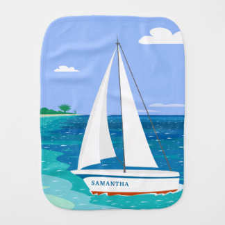 Monogram Sailboat Coastal Tropical Burp Cloth