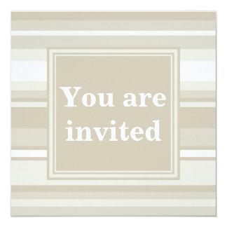 Monogram sandstone stripes 13 cm x 13 cm square invitation card