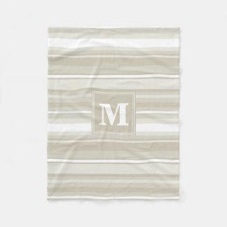 Monogram sandstone stripes fleece blanket