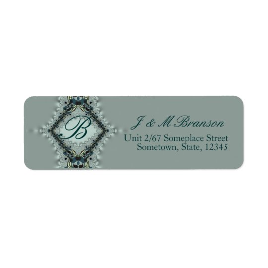 Monogram Satin Lace Teal Address Label
