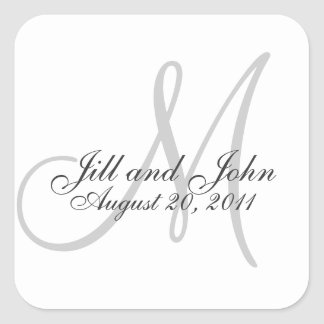 Monogram Save the Date Wedding Seal Sticker Square