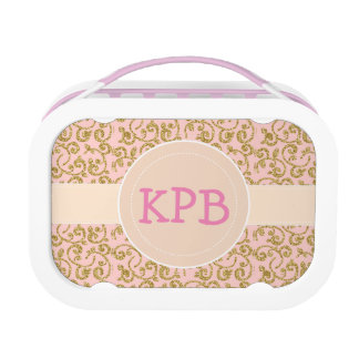 Monogram School Girl Glitter Floral Lunch Box