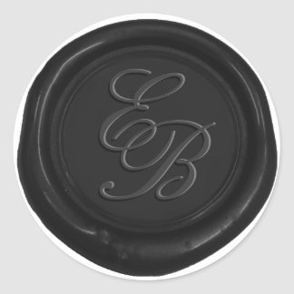 Monogram Script Black Wax Seal Wedding Favor
